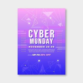 Płaski szablon ulotki cyber poniedziałek