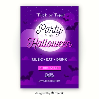 Płaski szablon ulotki halloween party