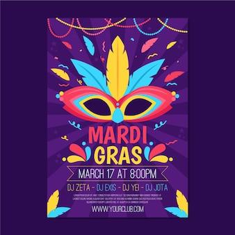 Płaski szablon ulotki mardi gras