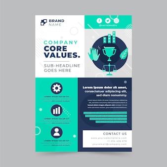 Płaski szablon ulotki o wartościach podstawowych