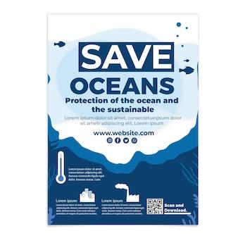 Płaski szablon ulotki pionowej dzień oceanów świata