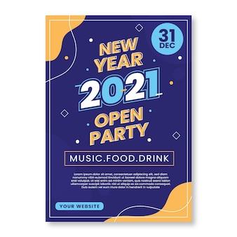 Płaski szablon ulotki / plakatu nowy rok 2021