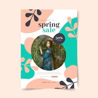 Płaski szablon ulotki sprzedaży wiosennej ze zdjęciem