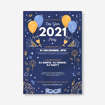 Płaski szablon ulotki strony nowego roku 2021
