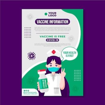Płaski szablon ulotki szczepienia przeciwko koronawirusowi