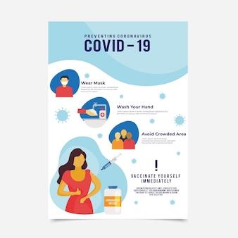 Płaski szablon ulotki szczepionki covid19