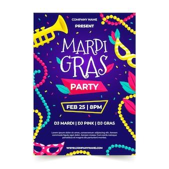 Płaski szablon ulotki uroczystości mardi gras