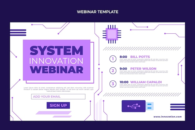 Płaski szablon webinarium o minimalnej technologii