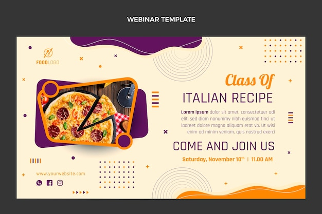 Płaski szablon webinarium o włoskim jedzeniu