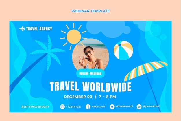 Płaski szablon webinaru podróży