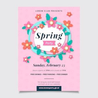 Płaski szablon wiosna party plakat szablon