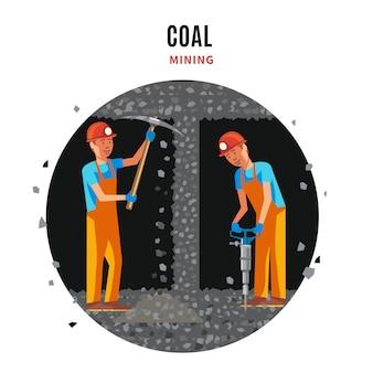 Płaski szablon wydobycia węgla