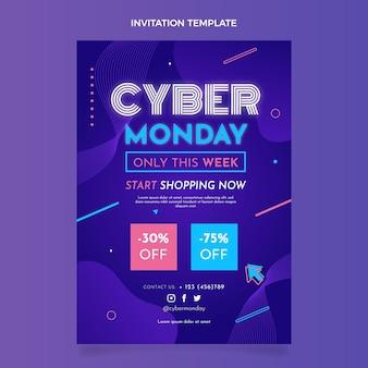 Płaski szablon zaproszenia cyber poniedziałek