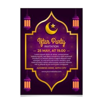 Płaski szablon zaproszenia iftar z półksiężycem