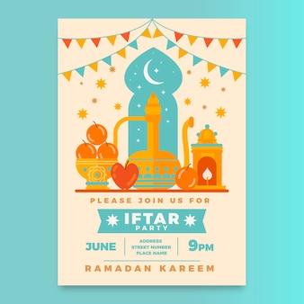Płaski szablon zaproszenia iftar