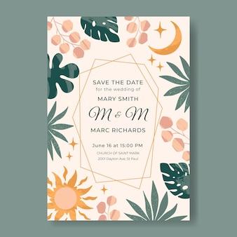 Płaski szablon zaproszenia ślubnego boho