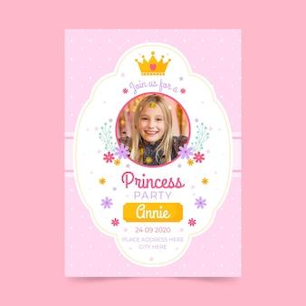 Płaski szablon zaproszenia urodzinowe księżniczki ze zdjęciem