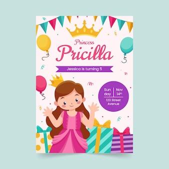 Płaski szablon zaproszenia urodzinowe księżniczki