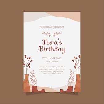 Płaski szablon zaproszenia urodzinowego boho