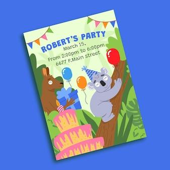 Płaski szablon zaproszenia urodzinowego dla zwierząt
