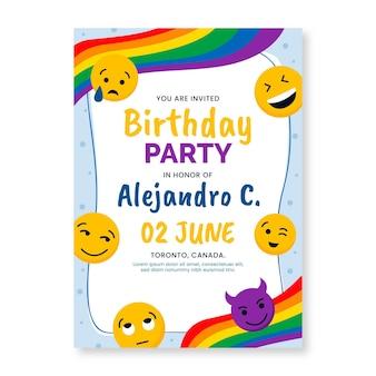 Płaski szablon zaproszenia urodzinowego emoji
