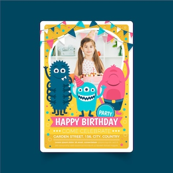Płaski szablon zaproszenia urodzinowego potwora ze zdjęciem
