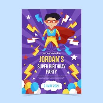 Płaski szablon zaproszenia urodzinowego superbohatera