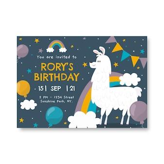 Płaski szablon zaproszenia urodzinowego tęczy