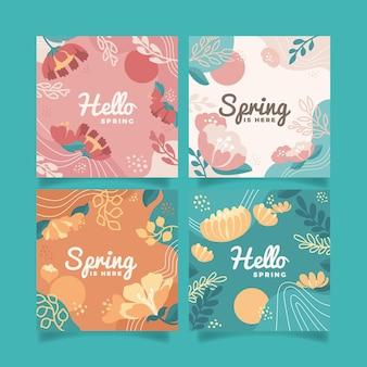 Płaski szablon zestawu kart z motywem kwiatowym