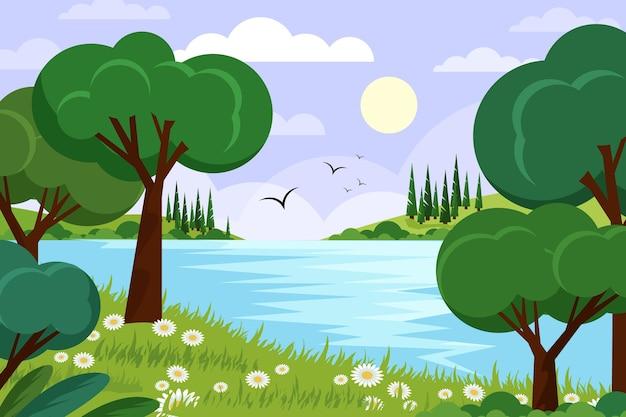 Płaski szczegółowy wiosenny krajobraz