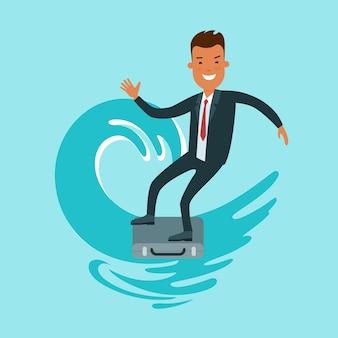Płaski szczęśliwy biznesmen fala surfing na ilustracji wektorowych walizka