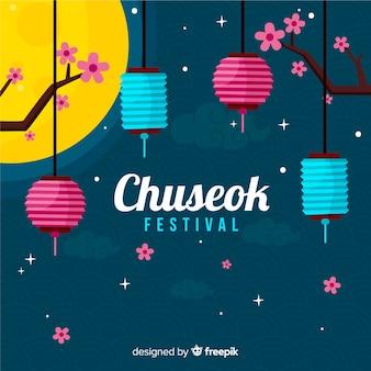 Płaski szczęśliwy chuseok festiwalu tło