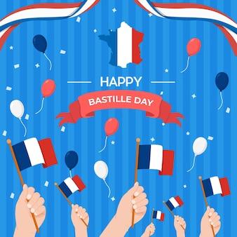 Płaski szczęśliwy dzień bastylii z konfetti wstążki salut