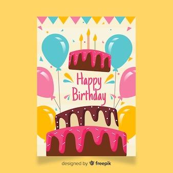 Płaski szczęśliwy urodziny szablon karty