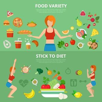 Płaski, szczupły, zdrowy styl życia, infografiki internetowe, suwak, koncepcja
