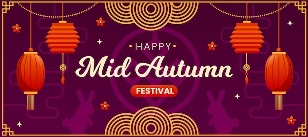 Płaski sztandar festiwalu w połowie jesieni