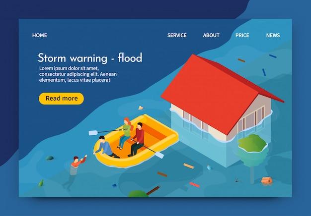 Płaski sztandar jest napisany storm warning flood 3d.