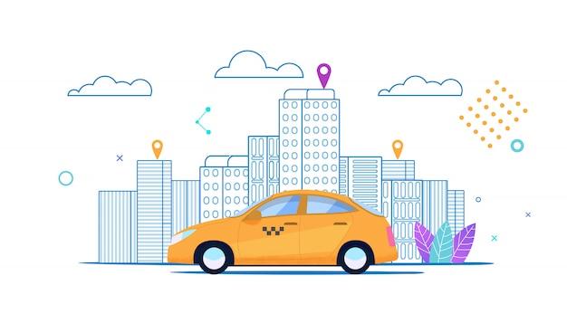 Płaski sztandar miasto żółte taksówki jedzie zamówiona trasa.