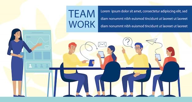 Płaski sztandar pracy zespołowej i rozwoju aplikacji