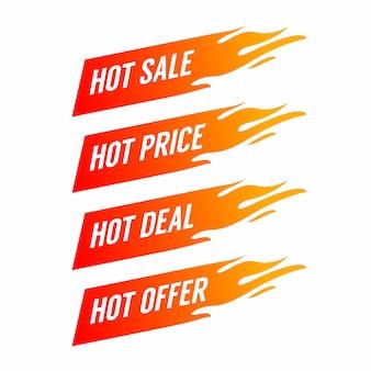 Płaski sztandar promocyjny ognia, metka, gorąca wyprzedaż, oferta, cena.