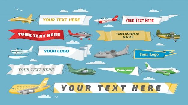 Płaski sztandaru samolot lub samolot z pustą wiadomości reklamą i teksta szablonu reklamą w ilustraci