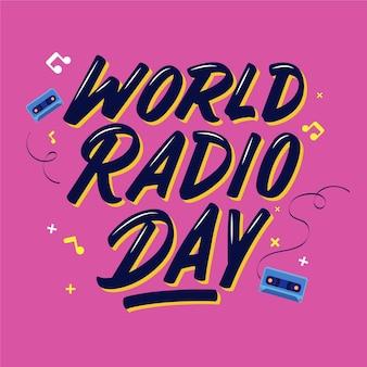 Płaski tekst światowego dnia radiowego