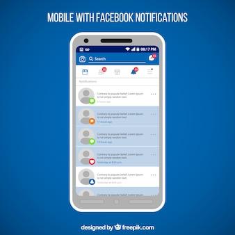 Płaski telefon komórkowy z powiadomieniami na facebooku
