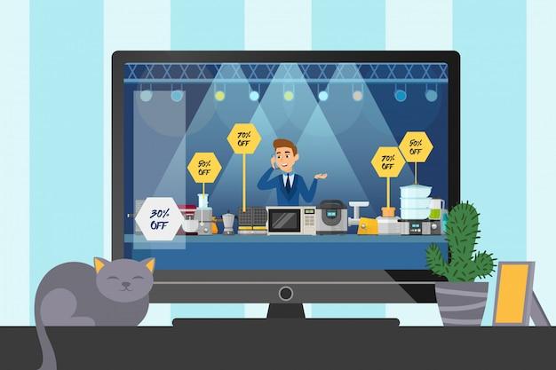Płaski telemarketing sprzedaż małych urządzeń gospodarstwa domowego, rzeczy kuchenne do ilustracji domowej. cat sit tv and cactus poster, banner design.