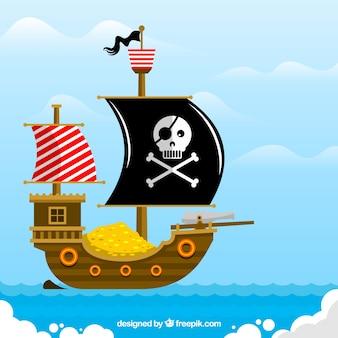 Płaski tła statku piratów pełen złotych monet