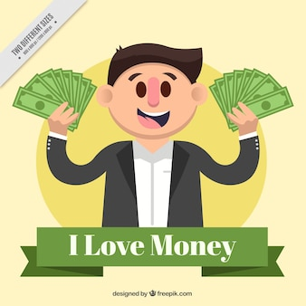 Płaski tle uśmiecha się mężczyzna z pieniędzmi