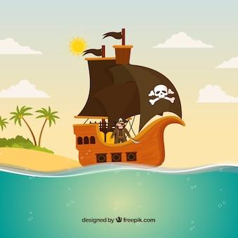 Płaski tło statku piratów w morzu