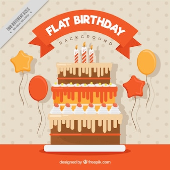 Płaski tło urodziny z smaczne ciasta i balonów
