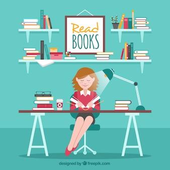Płaski tło uśmiechnięta kobieta czyta książkę