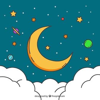 Płaski tło z księżyca i kolorowe planety